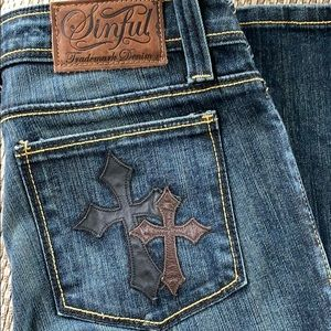 Sinful by Affliction Jeans with Crosses